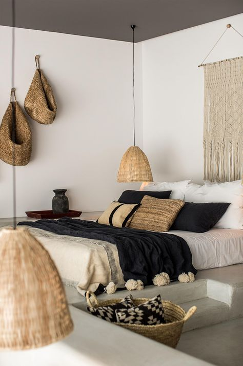 black and white bedroom with textural elements
