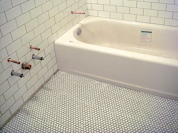 White Penny Tile With Dark Grout Bath S Pinterest