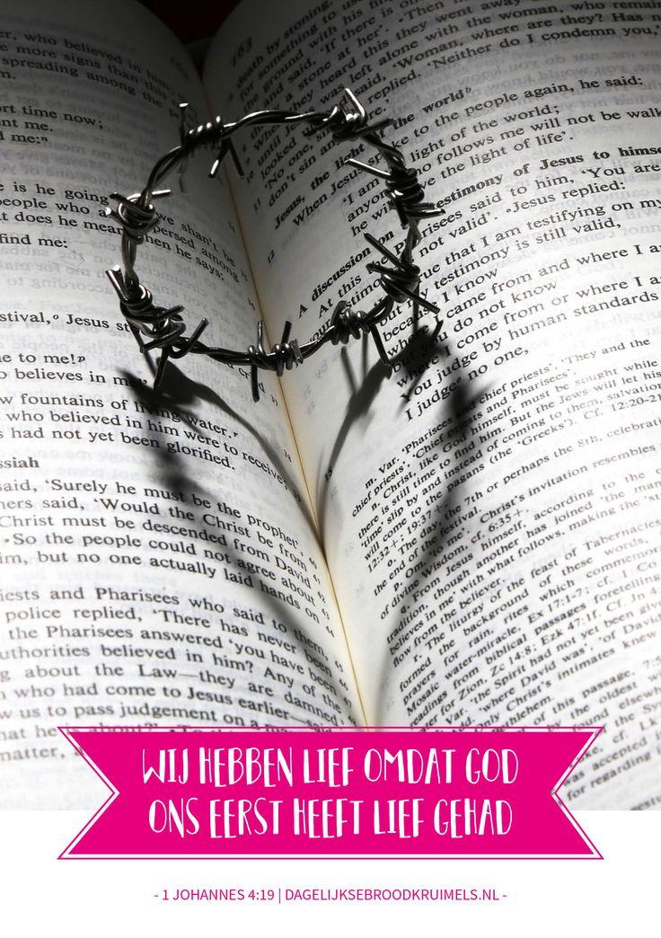Wij hebben lief omdat God ons het eerst heeft liefgehad. 1 Johannes 4 vers 19  #Genade, #Jezus, #Liefde  https://www.dagelijksebroodkruimels.nl/1-johannes-4-19-2/