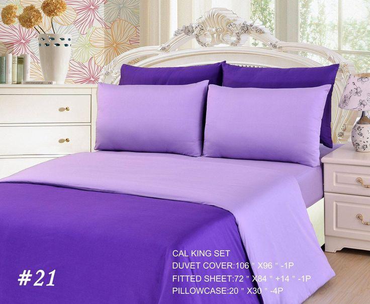 Tache 4-6 Piece Dark Purple/ Light Purple Reversible Duvet Cover Set