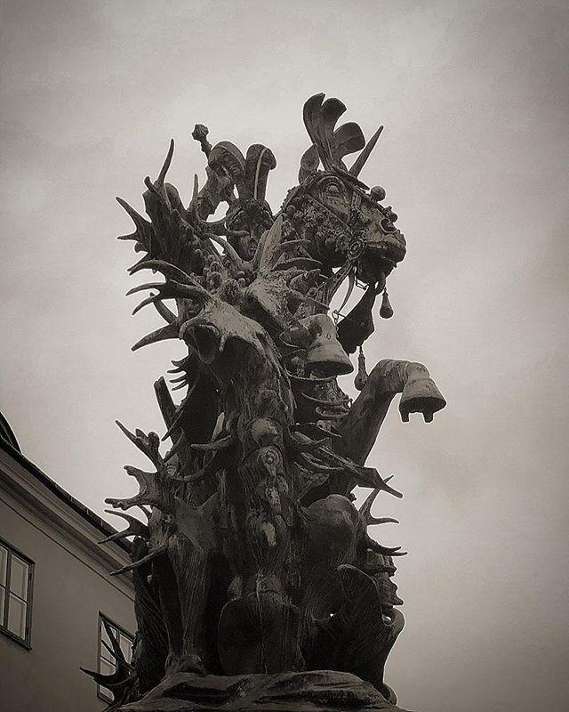 St George and the Dragon #stgeorge #sanktgöranochdraken #statue #oldtown #gamlastan #stockholm #stockholm_insta #ig_sweden #photobydavidfeldt #bw #blackandwhite #tweaked