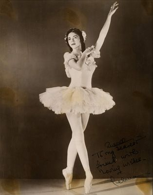 "Autographed image of Celina Cummings as the Rose from ""Waltz of the Flowers"" in Willam Christensen's Nutcracker, 1944; Image courtesy Museum..."