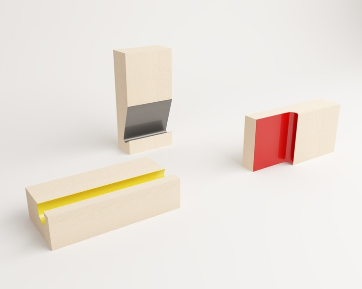 CUT is a collection of three pieces of furniture. Based on identical solid white oak parallelepiped, each element underwent a specific cut to bestow it its own identity. These different cuts allow a large number of uses based on their vertical, horizontal or sideways placement: coffee table, pedestal, umbrella stand...