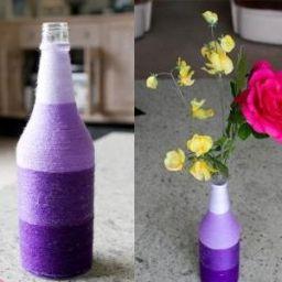 Вазы для цветов можно сделать из стеклянных бутылок