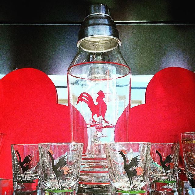 Valentine's love from The Hour Shop! 1920s era vintage glass Red Rooster Cocktail Shaker & Black & Red Crowing Rooster Shot Glasses. Shop TheHourShop.com for all your curated cocktail glassware & barware needs.