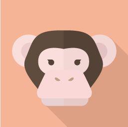フラットデザインのアイコン 猿・チンパンジーのアイコン素材