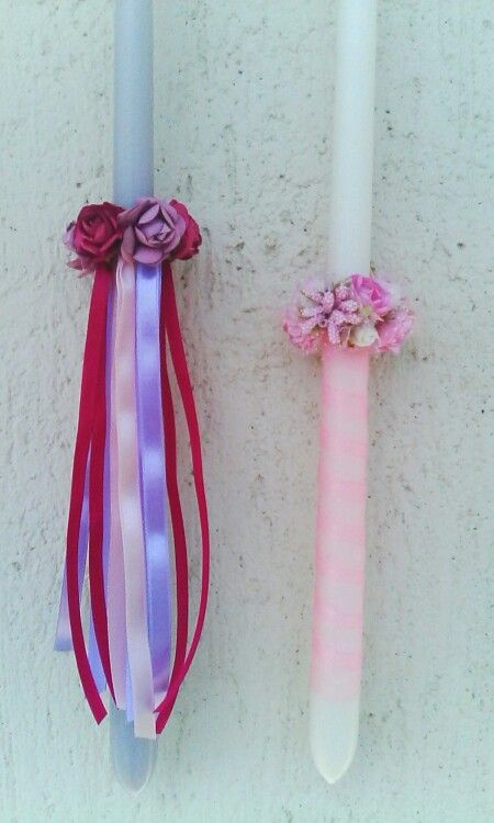 DIY Greek Easter candles. Make a mini crown with faux flowers and glue it around the candle. Decorate as desired.