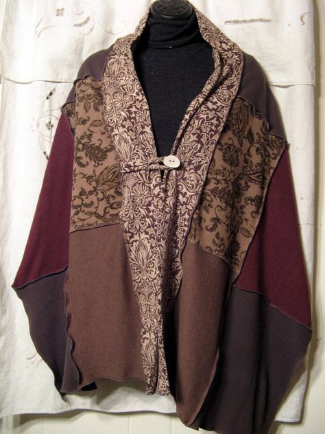 Shawl/wrap/scarf upcycled from knit shirts in fall colors with an antler button