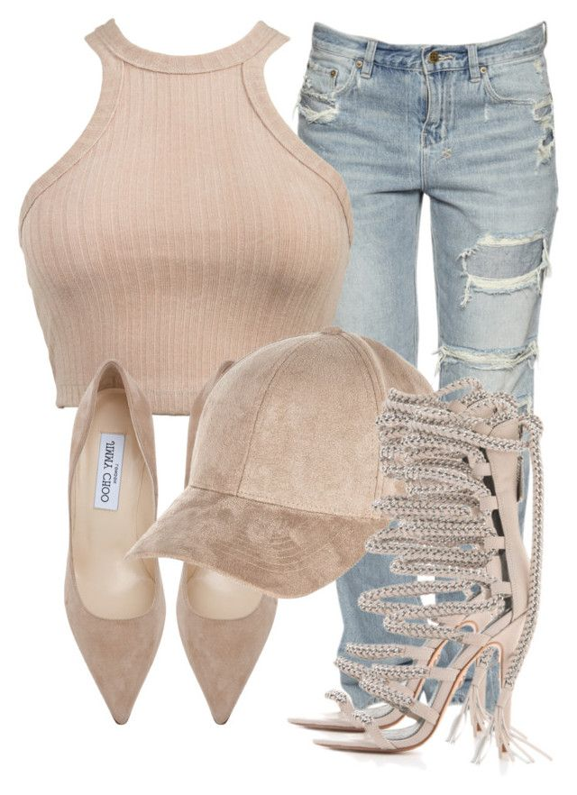 """Untitled #2813"" by xirix ❤ liked on Polyvore featuring Jimmy Choo and River Island"