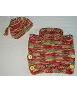 """Brand new, hand-knit little girls Turtleneck Sweater Poncho in size 18M - 2T. Measures 14"""" from shoulder to bottom and 17"""" wide. This new design is perfect for Spring! Made with Lion Brand Hometown USA yarn. (super bulky no. 6) Color is Santa F..."""