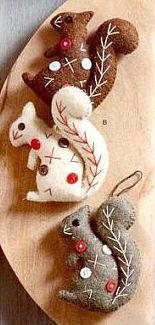 Dotty Squirrel Felt Ornaments