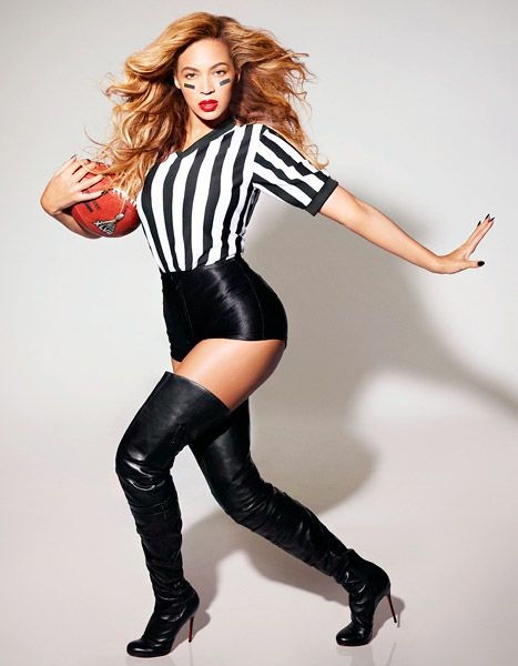 Beyonce Wears Sexy Referee Costume, Thigh-High Boots in Super Bowl Promo Picture