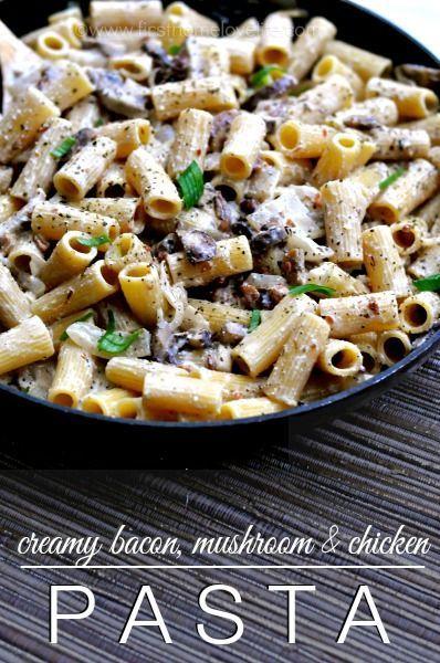 Bacon, Mushroom, Chicken Pasta...Oh good gravy, it's to die for! #pasta #bacon #chicken #recipe