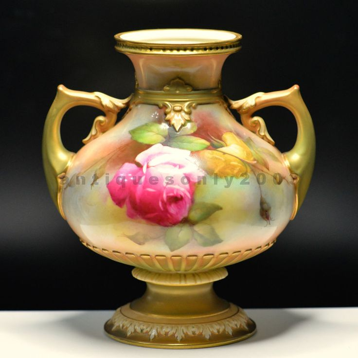 Antique Vase Royal Worcester Hand Painted Rose Vase James Hadley Harry Martin