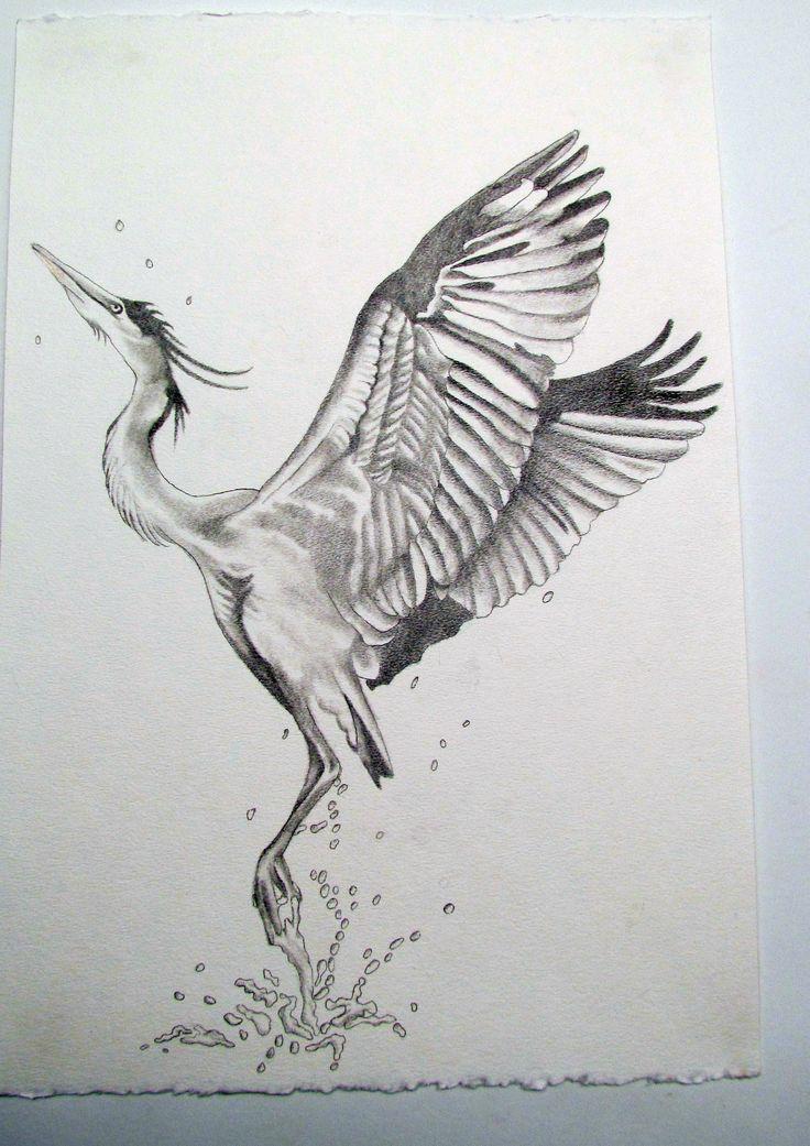 blue heron tattoo sketch                                                       …