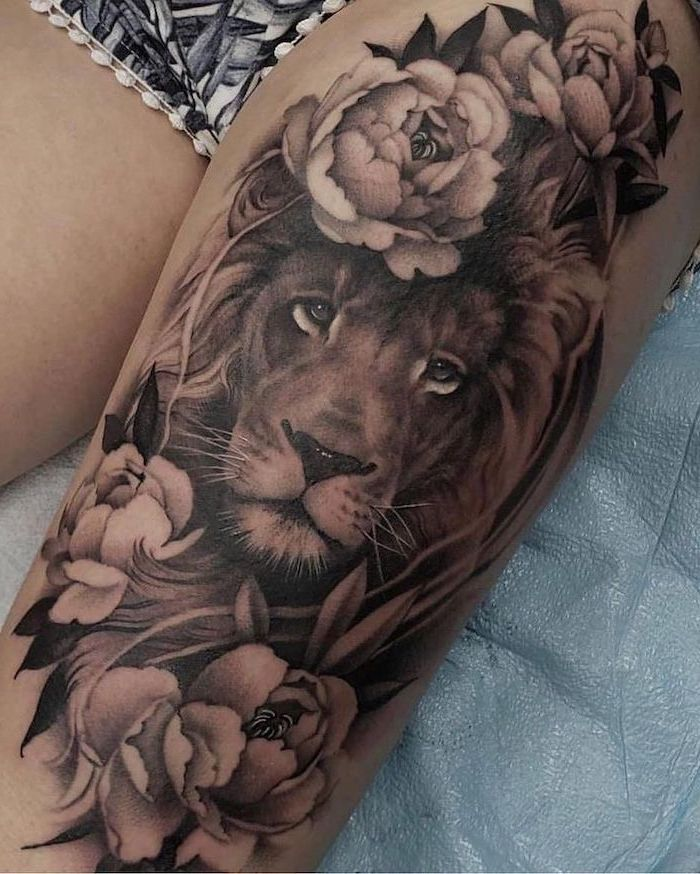 Lion Surrounded By Flowers Leg Tattoo Ideas Black White Shorts In 2020 Leg Tattoos Women Thigh Tattoos Women Girl Leg Tattoos