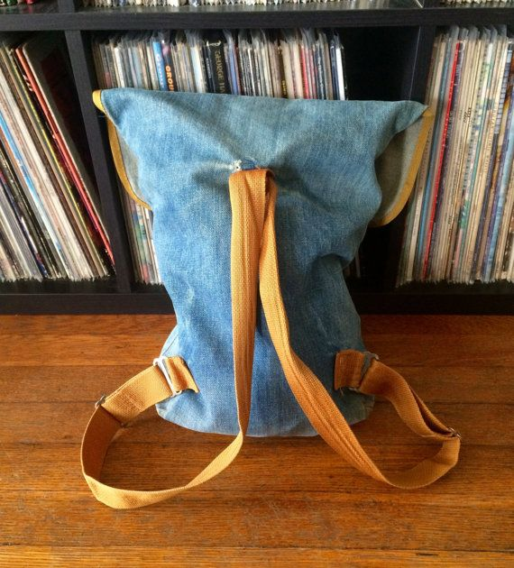 Vintage 1970s LEVIS Distressed Denim Tote Bag BACKPACK 501