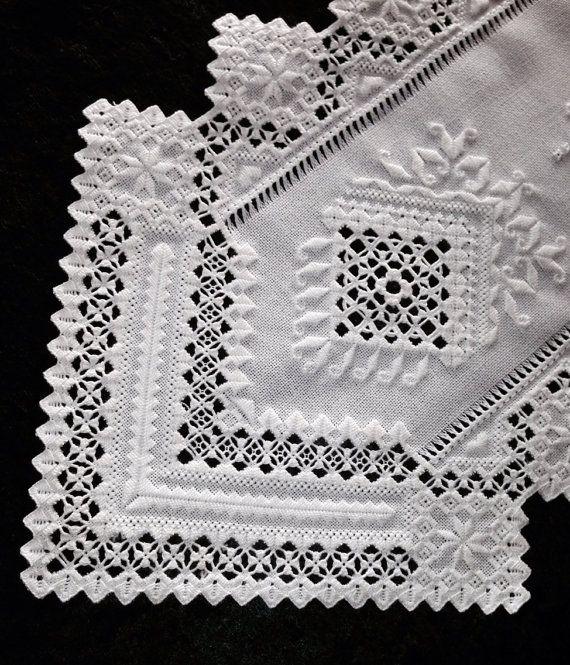Hardanger Table Runner, White on White
