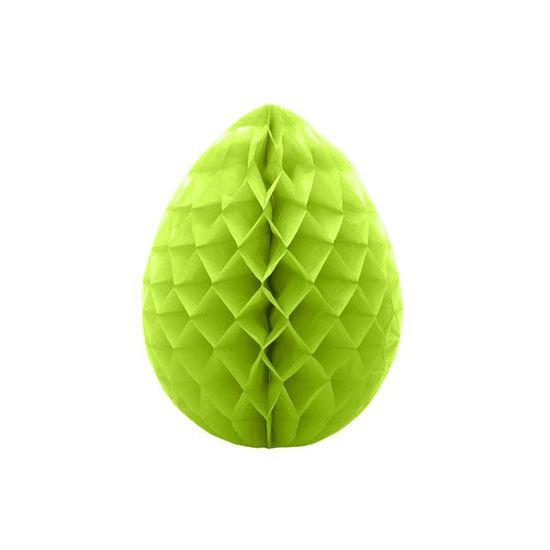 Decoratie paasei groen 10 cm  Decoratie paasei groen 10 cm. Groene decoratie paasei van crepepapier om op te hangen. Hoogte: ongeveer 10 cm.  EUR 1.50  Meer informatie
