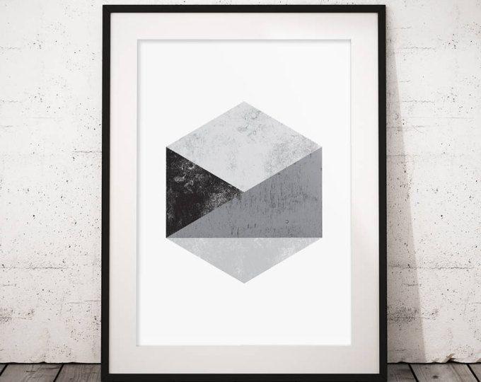 Arte geometrica, stampa scandinava, esagono parete arte, arte astratta della parete, arte geometrica parete stampa, stampabile, stampabile geometrica, arte moderna