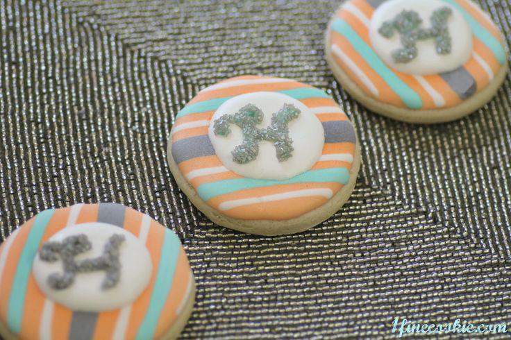 Preppy Monogram Baby Shower Cookies  http://www.1finecookie.com/2012/05/project-cookies-no-grownups-allowed/  #chevron #zig-zag #elephant #aqua #gray #grey #stripe #print #pattern #monogram #orange #coral: Elephant, Br Aby Shower, Baby Shower Cookies, Baby Showers