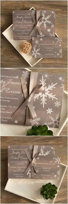 Winter wonderland snowflake invitations