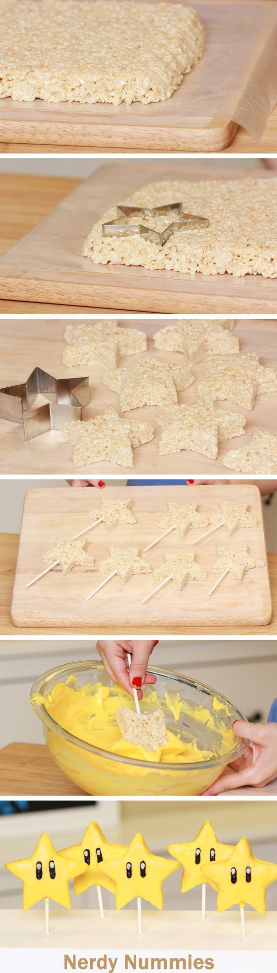 How to make Mario Star Rice Krispy Pops!