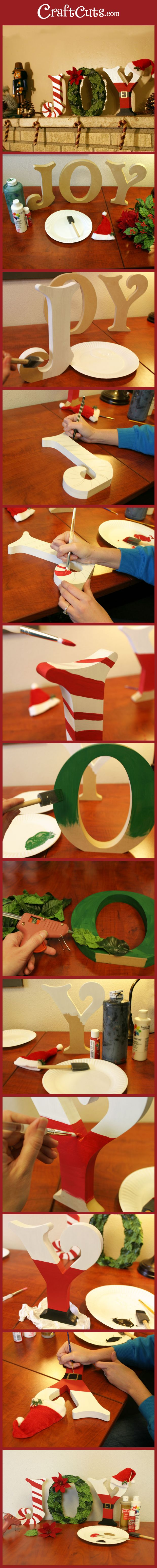 Use standing wooden letters to make JOY Christmas decoration | CraftCuts.com