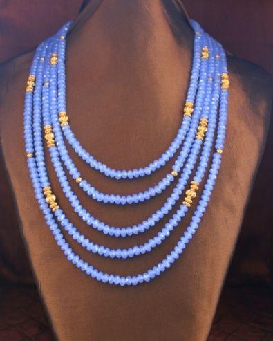 Dark Violet Crystals & Golden Beads 5 Strand Necklace