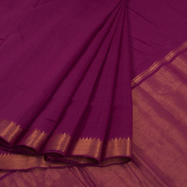 Buy online Handwoven Purple Mangalgiri Cotton Saree With Zari Border & Zari Pallu 10014944