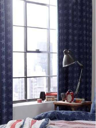 Catherine Lansfield Stars Blue Lined Curtains 66 x 72