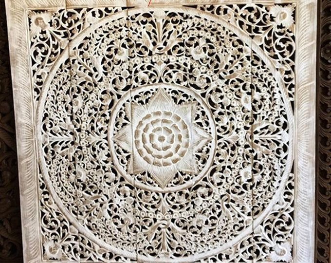 """Queen Bed Headboard 60"""" 5ft 150cm Mandala Lotus Flower Wooden Hand Craved Teak Wood Art Panel Panels White Washed Wall Decorative Thai Home"""
