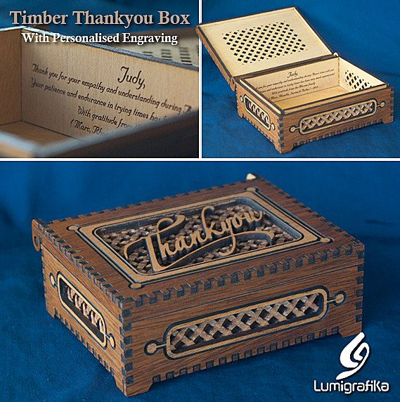 Twotone timber Thankyou box with timber hinge. by Lumigrafika, $55.00
