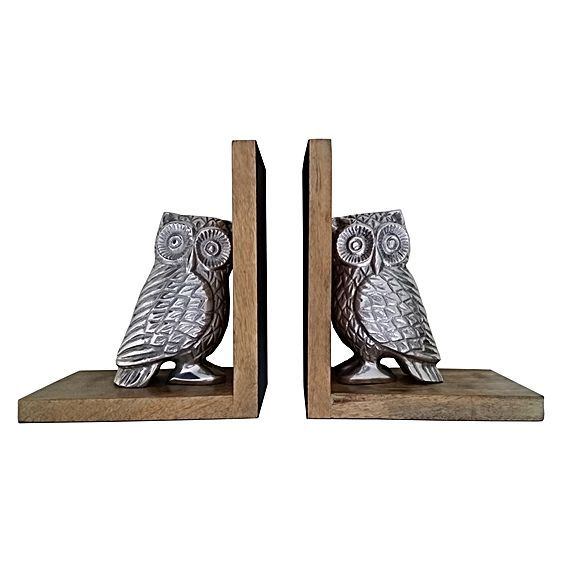 Embrace woodland character in your cosy home office with the charming wood and metal Owl Bookend (Set of 2) from j.elliot HOME.