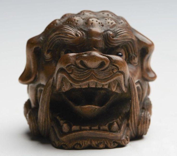 EXCEPTIONAL ANTIQUE CARVED JAPANESE BOXWOOD LION DOG HEAD NETSUKE SIGNED c.1900