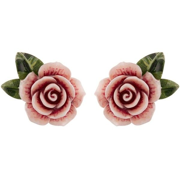 Dolce & Gabbana Resin Rose Earrings ($340) ❤ liked on Polyvore featuring jewelry, earrings, floral earrings, holiday jewelry, earring jewelry, evening jewelry and pink rose earrings