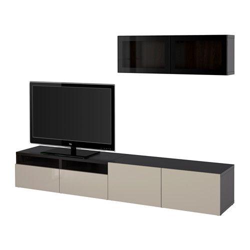 BESTÅ Comb arrum TV/portas vidro - preto-castanho/Selsviken brilhante/vidro transp bege, calha p/gaveta, fecho suave - IKEA