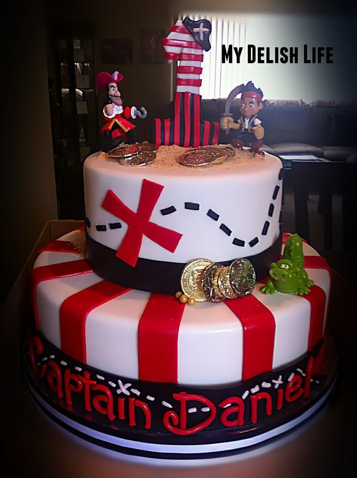 - Jake and the Neverland Pirates theme Cake (Toy toppers were provided) Pirate theme cake