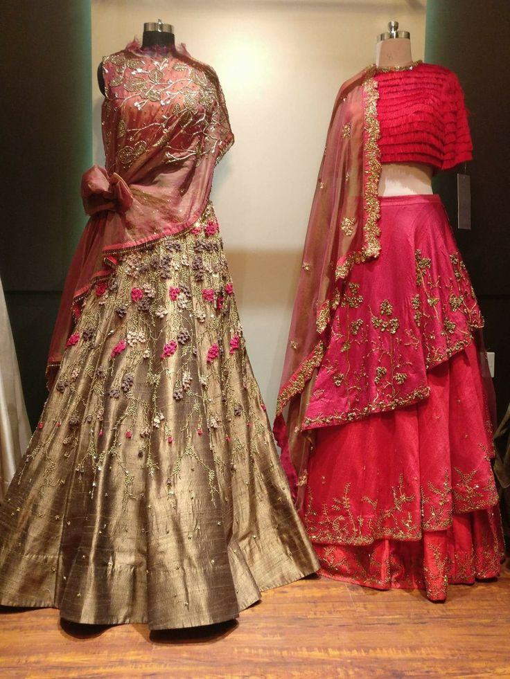 Layer ghagra with emblishment
