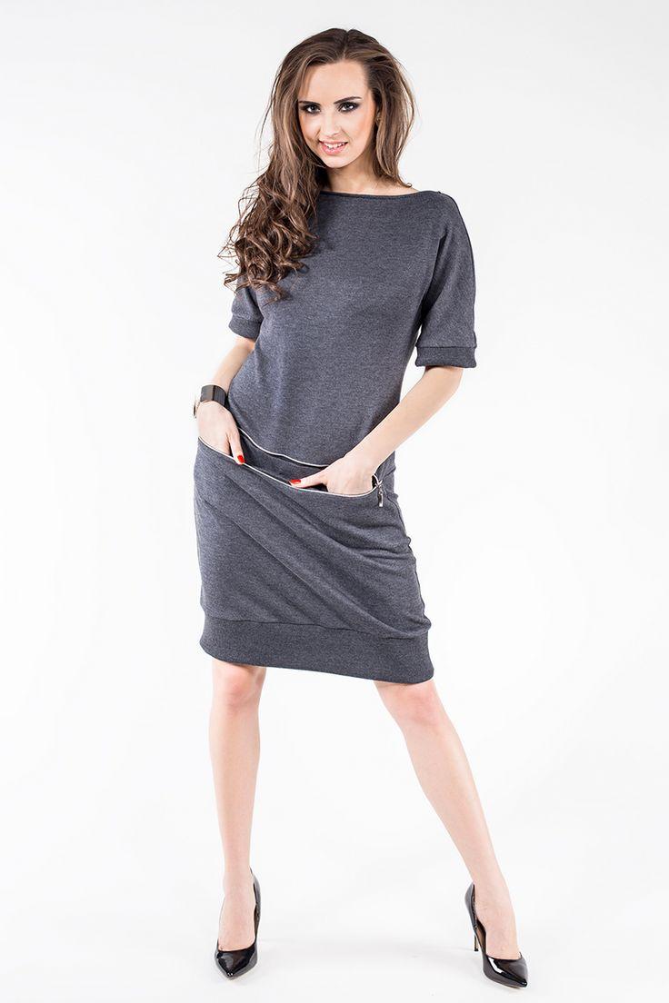 Sukienka z dresówki z poziomym zamkiem i kieszeniami SL2163G www.fajne-sukienki.pl