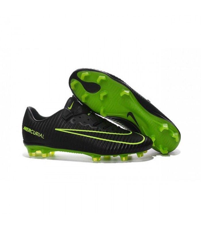 Acheter Chaussures Nike Football Hommes - Nike Mercurial Vapor 11 FG Noir Vert pas cher en ligne 101,00€ sur http://cramponsdefootdiscount.com