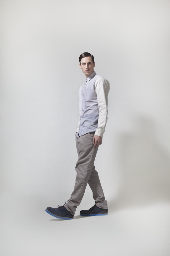 Menswear. Stripes Contrast Shirt | Grey Chinos | Navy Suede Brogues