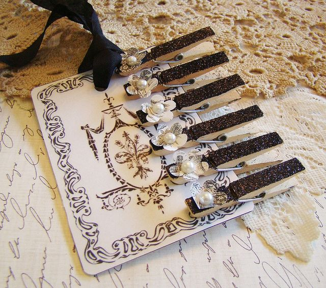 French Flair Black Glitter Mini Clothes Pin with Toile Flower 2 by Alyssabeths, via Flickr