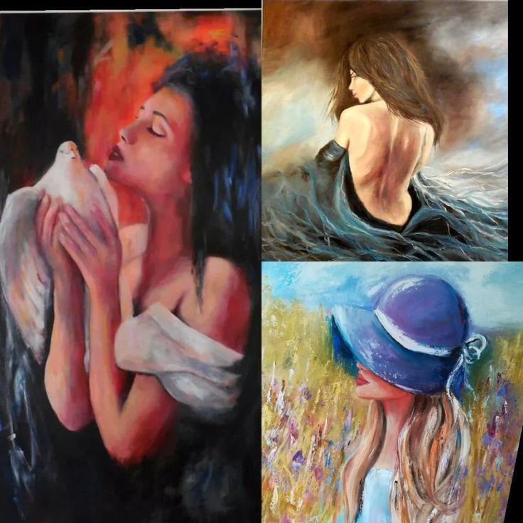 Women, girl portrait, original oil painting on canvas
