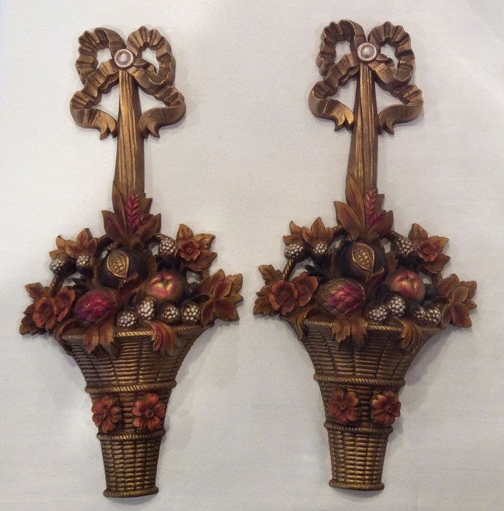Vintage Pair Mid-Century 1969 4828-2 Burwood Fruit Flower Basket Wall Plaques  #BURWOOD