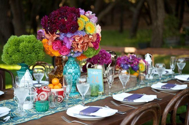 turquoise with a burst: Receptions Centerpieces, Ranch Wedding, Colors Schemes, Wedding Colors, Events Plans Design, Colors Centerpieces, Indian Wedding, Flower, Floral Events Design