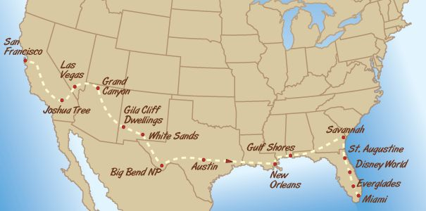 Green Tortoise USA adventure bus tours - Southern Road Trip Map