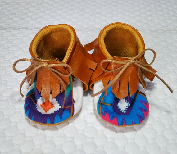 Baby Moccasins Aztec fabric and tan leather Tie by VincentElvis