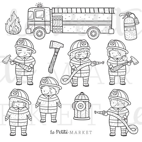 40+ Firefighter Clipart Black And White