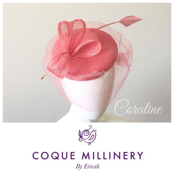 Coral pink pillbox hat  Coraline by CoqueDesigns on Etsy